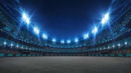 Sport stadium with grandstands full of fans, shining night lights and asphalt surface. Digital 3D illustration of sport stadium for background use.