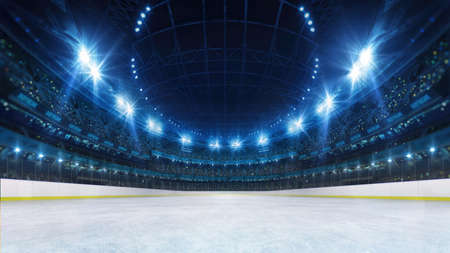Sport stadium with grandstands full of fans, shining night lights and ice rink playground. Digital 3D illustration of sport stadium for background use. Фото со стока