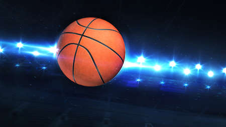 Flying Basketball Ball And Shiny Spotlights Behind. Digital 3D illustration of sport equipment for background use.