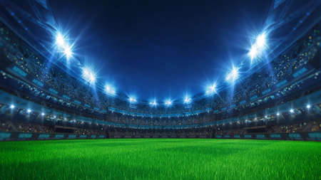 Sport stadium with grandstands full of fans, shining night lights and green grass playground. Digital 3D illustration of sport stadium for background use.