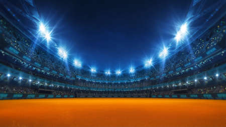 Sport stadium with grandstands full of fans, shining night lights and running orange surface. Digital 3D illustration of sport stadium for background use. Stock Photo