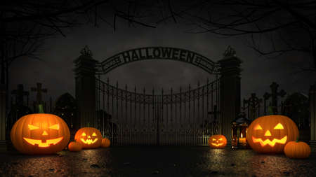 Cemetery front entrance gate with scary halloween pumpkins around at dark night. Halloween holiday theme 3d background illustration. Фото со стока