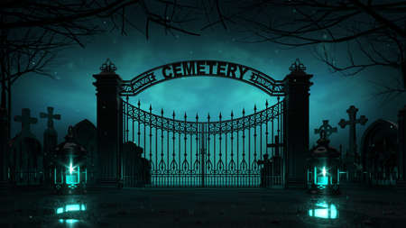 Cemetery front entrance gate with shining lanterns around at dark night. Halloween holiday theme 3d background illustration.