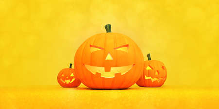 Three scary halloween pumpkins in the middle and orange blank background around. Halloween holiday theme 3d background illustration.
