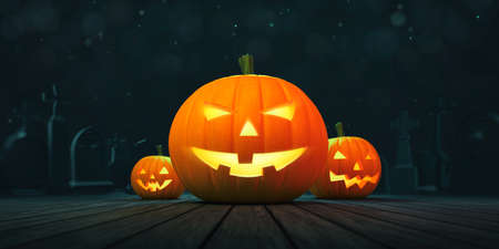 Three ghostly halloween pumpkins on wooden deck and blurred dark blue background. Halloween holiday theme 3d background illustration.
