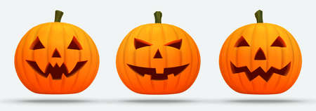 Three isolated scary halloween pumpkins on white background with shadow on ground. Halloween holiday elements as 3d illustration.