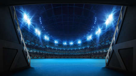 Stadium tunnel leading to playground. Players entrance to illuminated tennis arena full of fans. Digital 3D illustration background for sport advertisement. Banco de Imagens