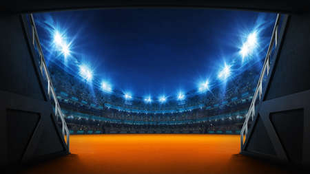 Stadium tunnel leading to playground. Players entrance to illuminated athletics stadium full of fans. Digital 3D illustration background for sport advertisement. Banco de Imagens