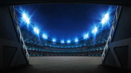 Stadium tunnel leading to playground. Players entrance to illuminated racing arena full of fans. Digital 3D illustration background for sport advertisement.