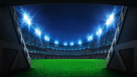 Stadium tunnel leading to playground. Players entrance to illuminated football stadium full of fans. Digital 3D illustration background for sport advertisement.