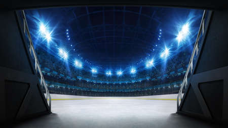 Stadium tunnel leading to playground. Players entrance to illuminated ice hockey stadium full of fans. Digital 3D illustration background for sport advertisement. Banco de Imagens