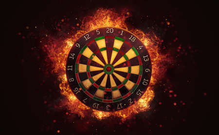 Dart board target in burning flames close up on dark brown background. Classical sport equipment as conceptual 3D illustration. Фото со стока