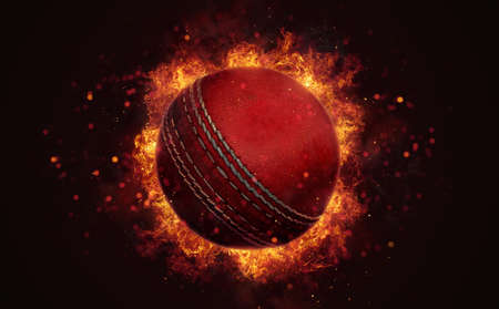 Flying cricket ball in burning flames close up on dark brown background. Classical sport equipment as conceptual 3D illustration. Фото со стока