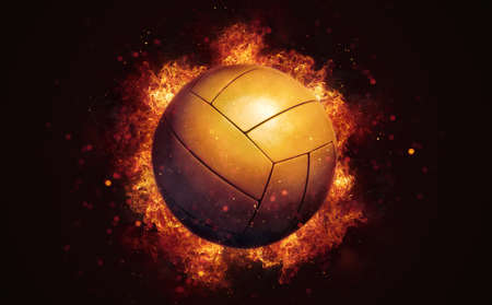 Flying volleyball ball in burning flames close up on dark brown background. Classical sport equipment as conceptual 3D illustration.