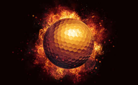 Flying golf ball in burning flames close up on dark brown background. Classical sport equipment as conceptual 3D illustration.