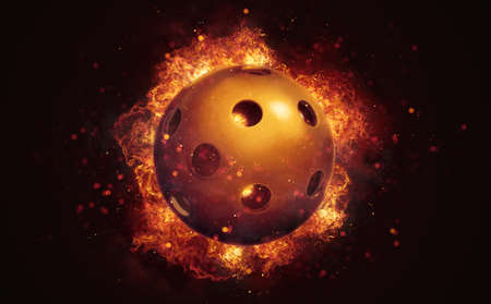 Flying florball ball in burning flames close up on dark brown background. Classical sport equipment as conceptual 3D illustration.