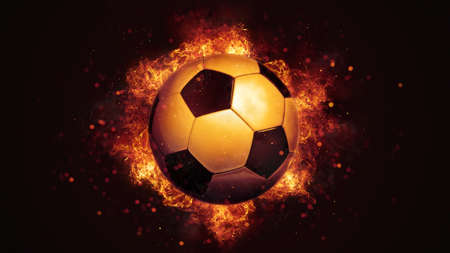Flying soccer ball in burning flames close up on dark brown background. Classical sport equipment as conceptual 3D illustration.