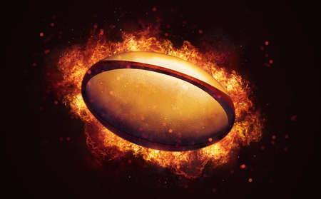 Flying rugby ball in burning flames close up on dark brown background. Classical sport equipment as conceptual 3D illustration.