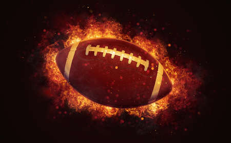 Flying american football ball in burning flames close up on dark brown background. Classical sport equipment as conceptual 3D illustration.