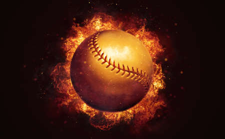 Flying baseball ball in burning flames close up on dark brown background. Classical sport equipment as conceptual 3D illustration. Фото со стока