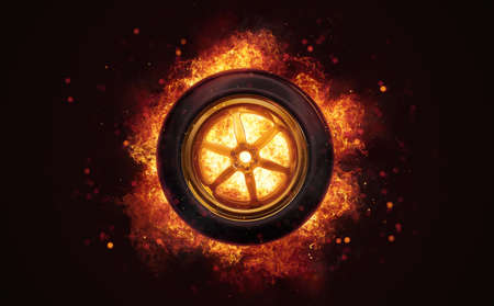 Race car tyre in burning flames close up on dark brown background. Classical sport equipment as conceptual 3D illustration.