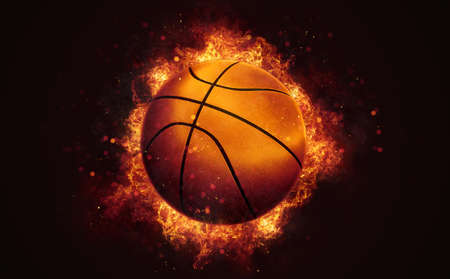 Flying basketball ball in burning flames close up on dark brown background. Classical sport equipment as conceptual 3D illustration. Фото со стока