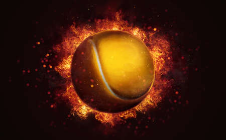 Flying tennis ball in burning flames close up on dark brown background. Classical sport equipment as conceptual 3D illustration.