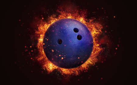 Flying bowling ball in burning flames close up on dark brown background. Classical sport equipment as conceptual 3D illustration. Фото со стока