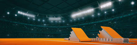 Sport indoor athletics arena with start blocks on the ground as widescreen background. Digital 3D illustration of sport building interior. Фото со стока