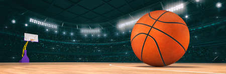Sport indoor arena with basketball ball on the wooden floor as widescreen background. Digital 3D illustration of sport building interior.