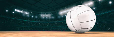 Sport indoor arena with volleyball ball on the wooden floor as widescreen background. Digital 3D illustration of sport building interior.