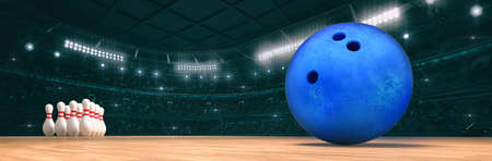 Sport indoor arena with bowling ball on the wooden floor as widescreen background. Digital 3D illustration of sport building interior. Фото со стока