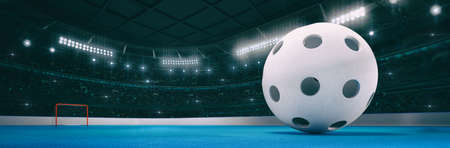 Sport indoor arena with white floorball ball on the blue floor as widescreen background. Digital 3D illustration of sport building interior. Фото со стока