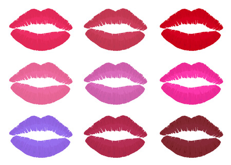 Lipstick collection with various colors. Isolated design icon