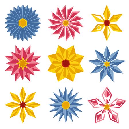 Geometric flowers icon set. Simple vector illustration
