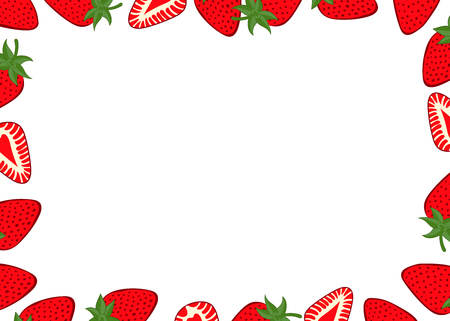 Strawberry fruit background. Strawberries set in the frame around a black space for a text, logo, or designs. View from above Illusztráció
