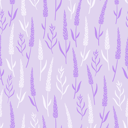 Lavender flowers seamless pattern on purple background