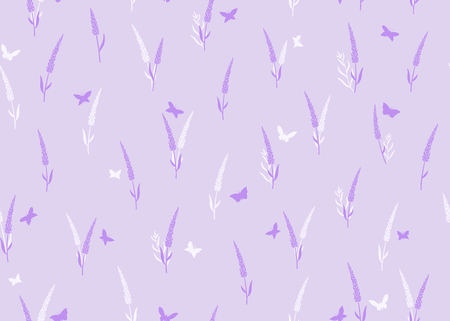Lavender flowers with butterflies seamless pattern on purple background