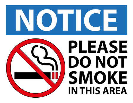 No Smoking Notice Sign. No cigarette Warning signage. Letter scale Vector design illustration. Ilustração