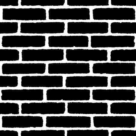 Brick wall texture seamless pattern. Black on white bricks. Vector illustration background  for fashion, surface design for web, home decor, fashion, surface, graphic design
