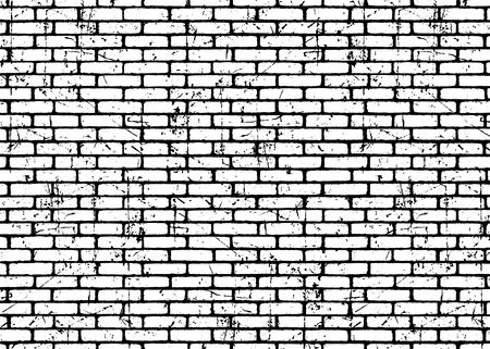 Backsteinmauer Texturmuster. Weiß auf schwarzen Ziegeln. Grunge und beunruhigter Effekt. Vektorillustrationshintergrund für Mode, Oberflächendesign für Web, Wohnkultur, Mode, Oberfläche, Grafikdesign