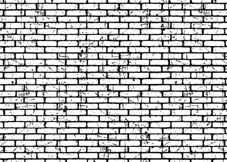 Wzór tekstury ścian z cegły. Białe na czarnych cegłach. Efekt grunge i trudnej sytuacji. Tło ilustracji wektorowych dla mody, projektowanie powierzchni dla sieci web, wystrój domu, moda, powierzchnia, projektowanie graficzne