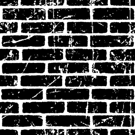 Brick wall texture seamless pattern. White on black bricks. Grunge and distressed effect. Vector illustration background  for fashion, surface design for web, home decor, fashion, surface, graphic design