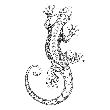 Ręcznie rysowane polinezyjski projekt jaszczurki. Polinezyjski tatuaż. Styl maoryski. Streszczenie gekon