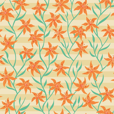 Tiger Lily Seamless pattern. Abstract lily flower design with wavy vertical stem and leaf. Vector illustration background for interior, fashion, textile, surface, web, home decor and graphic design. Ilustração