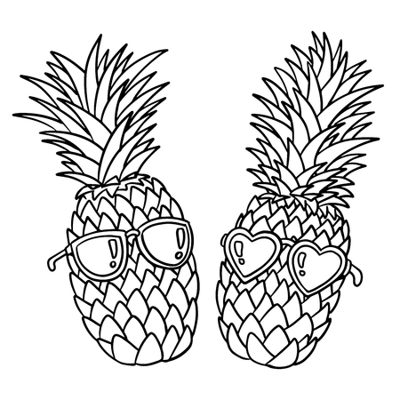 Pineapples wearing sunglasses, Black outline on white background. Pineapple juice, tropical fruit, summer holiday, vacation, concept, beach, travel. Vector illustration