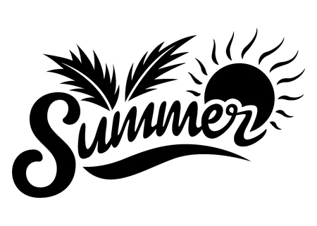 Summer logo. Brush lettering composition isolated on white background. Summer typography. Vector illustration. for print, icon design, web, home decor, fashion, surface, graphic design