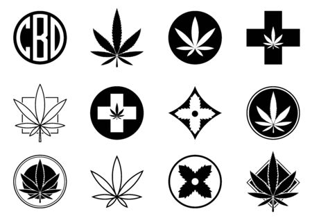 Marijuana, Cannabis icons set.  Set of medical and recreational marijuana logo and icons. Marijuana leaf. CBD logo. Isolated vector illustration. . For web, packaging, product, logo, graphic design Illustration