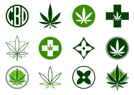 Marijuana, Cannabis icons set.  Set of medical and recreational marijuana logo and icons. Green Marijuana leaf. CBD logo. Isolated vector illustration. . For web, packaging, product, logo, graphic design Vectores