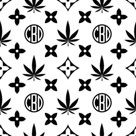 Patrón sin fisuras de marihuana. Negro sobre fondo de pantalla de vector de hierba blanca. Hoja de cannabis. Fondo de azulejos. Ilustración vectorial. Para web, embalaje, envoltura, moda, decoración, superficie, diseño gráfico.